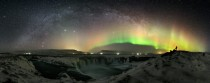 The Milky Way Jupiter Andromeda and aurora borealis over Icelands Godafoss