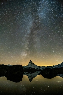 The Milky Way nicely aligns with the Matterhorn This is my first try at astrophotography  considering my equipment I am very happy with the result Zermatt Switzerland