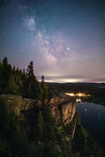 The Milky Way over a cliff in Quebec