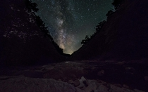 The Milky Way over a creek in Northern Pennsylvania