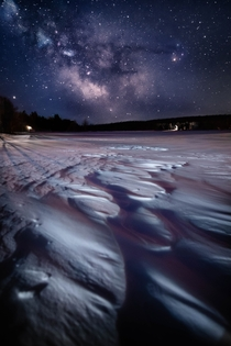 The Milky Way over a frozen lake