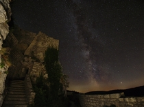 The Milky Way over a ruin in southern Germany