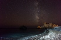 The Milky Way over Aphrodites Rock Cyprus
