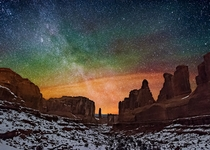 The Milky Way over Arches National Park Utah  By Wayne Pinkston