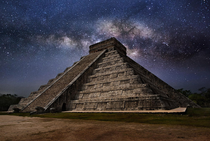 The milky way over El Castillo Pyramid Mexico