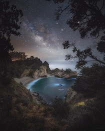 The Milky Way over McWay Falls in Big Sur California