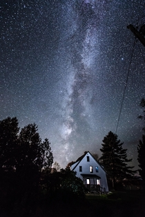 The Milky Way over my friends house LAnse Michigan in the UP x