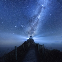 The Milky Way over Nugget Point Lighthouse New Zealand