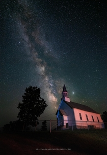 The Milky Way over rustic church in Southeast Missouri