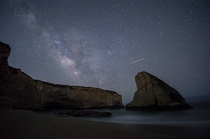 The Milky Way over Shark Fin Cove Davenport CA
