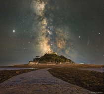 The Milky Way over St Michaels Mount Image Credit Simon R Hudson
