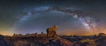 The Milky Way over the Badlands  by Wayne Pinkston