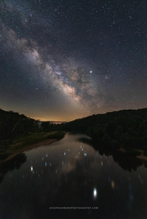 The Milky Way over the Current River Eminence Missouri
