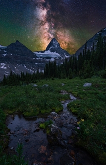 The milky way over the huge Mt Assiniboine in British Columbia Canada