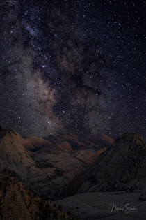 The Milky Way over the Zion Wilderness It was a  mile one-way hike to get to this location but totally worth it I started my hike around  hours before sunset to get to this point The hike out at  AM through the forest and meadows was nerve-wracking  Nikon
