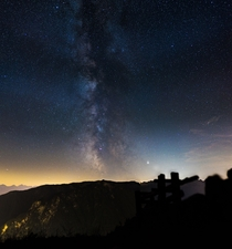 The milky way photographed in the alps Austria  images stitched together