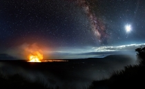 The Milky Way photographed over the Kilauea Volcano Hawaii September