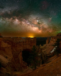 The Milky Way rising above Natural Bridge at Bryce Canyon UT