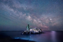 The milky way rising over hollow rock Minnesota