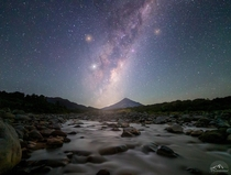 The Milky Way rising up over Mt Taranaki - New Zealand