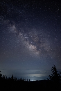 The Milky Way seen from the highest point in the Smoky Mountains