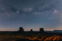 The Milky Way shining above Monument Valley - taken from a parking lot