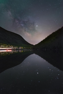 The Milky Way shining through Franconia Notch New Hampshire USA
