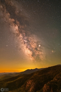 The Milky Way soaring above the High Peaks of the Adirondacks NY during astronomical twilight this past weekend