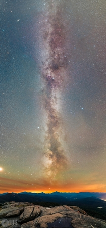 The Milky Way soaring high above Cascade Mountain in the Adirondacks NY as captured in this  image tracked pano