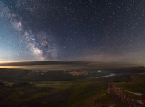 The Milky Way watches over a remote valley of the Snake River near Melba Idaho