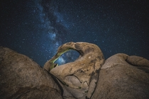 The Milkyway framed in the Mobius Arch Alabama Hills Lone Pine CA