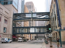 The Minneapolis Skyway System is the largest in the world covering over  city blocks  miles which allows you to live work shop dine bar hop attend sporting events amp concerts year round you never have to go outside unless you want to x-post rHeresAFunFac
