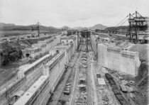 The Miraflores lower locks under construction