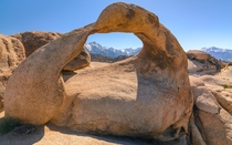 The Mobius Arch framing Mt Whitney and Lone Pine Peak CA