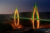 The Mohammed VI Bridge in the desert outside of Rabat Morocco