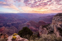 The moment just before the sun rises at Hopi Point Grand Canyon Arizona