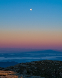 The moon above the Champlain Valley at dawn Vermont