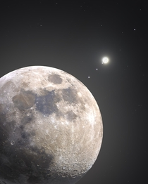 The Moon and Jupiter composite image