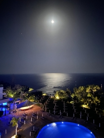 The Moon and Mars above Konnos Bay Cyprus