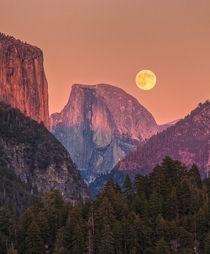The moon hangs low over Yosemite CA  Photographed by Jeff Sullivan