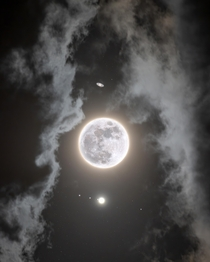 The Moon Jupiter and Saturn Composite Image