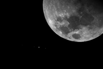 The Moon Jupiter and the Galilean satellites