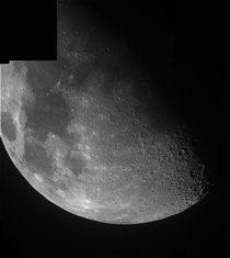 The moon partially imaged