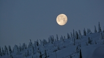 The moon rising over the mountain Big White BC