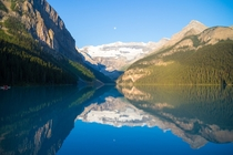 The moon was in just the right place over the Lake one morning Lake Louise AB