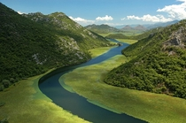 The Moraa River on its way to Lake Skadar Montenegro
