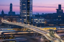The Moreelsebrug in Utrecht the Netherlands It spans over twelve train tracks and allows pedestrians and cyclists to bypass the central station