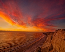 The most fiery sunset I ever witnessed at Blacks Beach CA