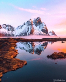 The most magical sunrise Ive ever experienced more photos amp videos in the comments - Vestrahorn Austur-Skaftafellsssla Southeast Iceland  - Instagram hrdur
