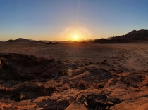 The most perfect sunset ive ever seen on our trip to the Wadi Rum desert of Jordan Sorry for the quality